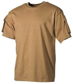 US T-Shirt, halbarm, coyote, mit Ärmeltaschen