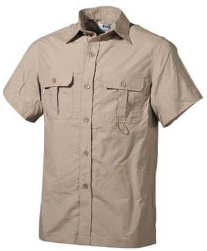 Outdoor Hemd, kurzarm, khaki, Microfaser, 2 Brusttaschen
