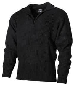 Isländer Pullover, Troyer, schwarz, mit Reißverschluß