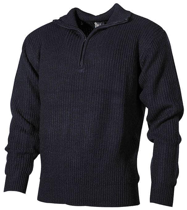 Isländer Pullover, Troyer, blau, mit Reißverschluß