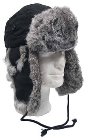 Fellmütze, schwarz, mit grauem Kaninchenfell, Steppfütterung