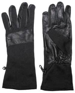 BW Kampfhandschuhe, schwarz, lange Stulpe, Lederbesatz