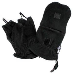 Fleece-Faust-Fingerhandschuhe, schwarz, mit Ausziehschlaufen
