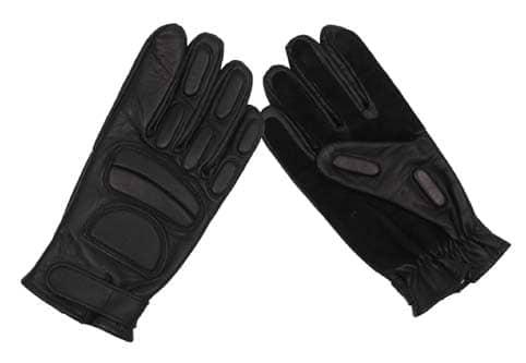 Lederhandschuhe, schwarz, mit Polsterung und Wildlederverst.