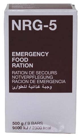 Notverpflegung, NRG-5, 500 g, (9 Riegel)